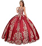 Emmani Women's Spaghetti Straps Embroidery Quinceanera Dresses Beaded Sweet 16 Ball Gown Red
