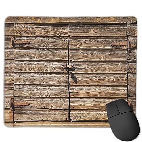 Benutzerdefinierte Office-Mauspad,Altes ländliches braunes Holztor mit Vorhänge, Anti-Rutsch-Gummibasis Gaming...