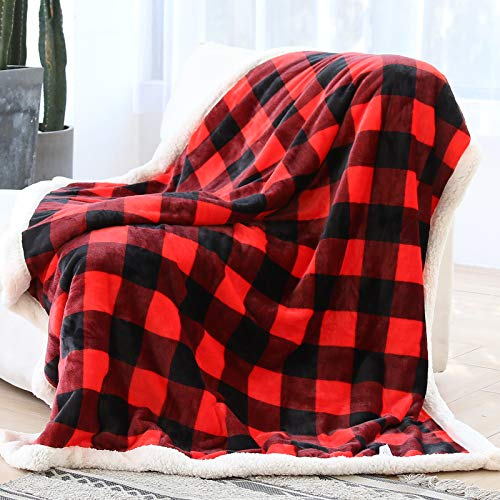 Syntus Buffalo Plaid Sherpa Throw Blanket, 50 x 60 inches Soft Flannel Fleece Checker Plaid Pattern Decorative Blankets for Couch, Bed, Sofa, Red & Black
