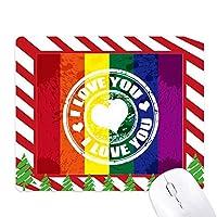 ラブlgbtレインボー消印 ゴムクリスマスキャンディマウスパッド