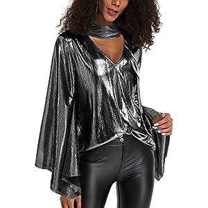 YOINS Donna Camicetta Manica Lunga Sexy Top con Glitter Cime Aderente con Scollo a V in Pelle