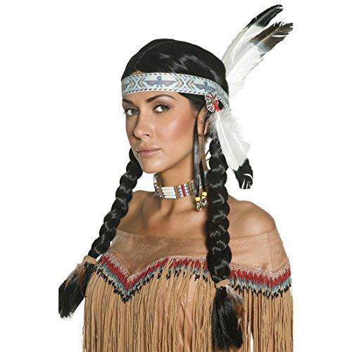 Amakando Indianerperücke Indianer Perücke mit Federn und Haarband Unisex Häuptling Zöpfe Squaw Indianerzöpfe Western Faschingsperücke Pocahontas Kostüm Haare