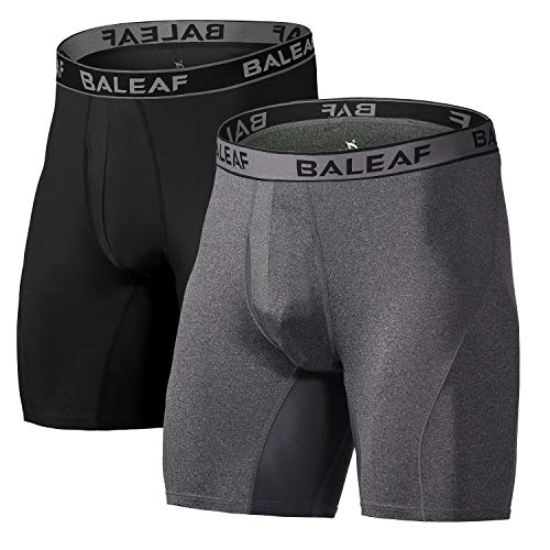 """BALEAF Men's Performance Boxer Briefs 9"""" Athletic Underwear Long Leg Cool Dry with Fly 2-Pack Black/Carbon Heather Size L(2-Pack)"""