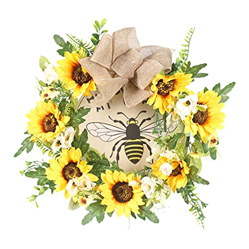 KunmniZ Artificial Bee Sunflower Wreath Garland Handmade Hanging Front Door Ornament Ideal Spring Summer Decorating for Home Festival Celebration Wall Window Party Decoration