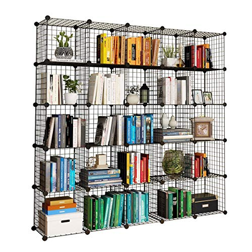 "SONGMICS Metal Wire Cube Storage,16-Cube Shelves Organizer,Stackable Storage Bins, Modular Bookcase, DIY Closet Cabinet Shelf, 48.4""L x 12.2""W x 48.4""H, White"