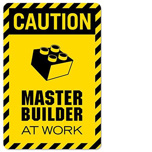 Caution Master Builder at Work Vinyl Decal Wall Decor Print for brickbuilders p2320 (Medium-12x18, DISP)