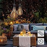 Hellum LED Hängelampe mit Fernbedienung Set 2 Stk, Innen & Außen, kabellose Hängeleuchte, Glühbirne mit Batterie und Timer, E27, Outdoor, Batterie 4 x AA, Vintage Retro 525093
