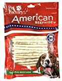 Pet Factory American Beefhide Chews 28109 Rawhide Natural Flavor 5' Twist Sticks for Dogs. American Beefhide is a Great Source for Protein and Assists in Dental Health. 1 Pound, Resealable Package