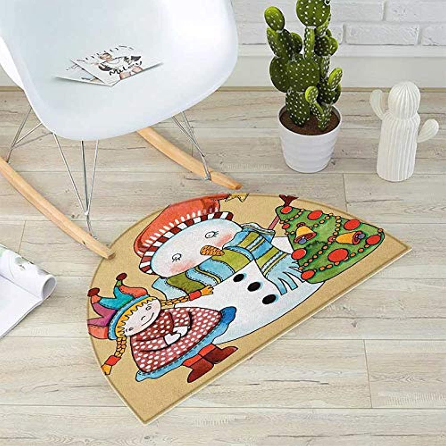 Christmas Semicircle Doormat Cute Little Toy Girl Snowman and Xmas Tree in Watercolors Happy New Year Theme Halfmoon doormats H 31.5  xD 47.2  Multicolor