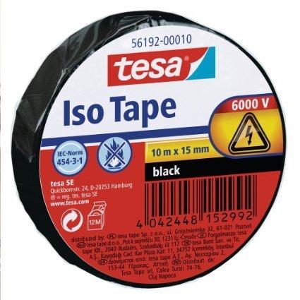 tesa 56192 ISO TAPE Isolierband, 10 m x 15 mm (3 Rollen, schwarz) by tesa