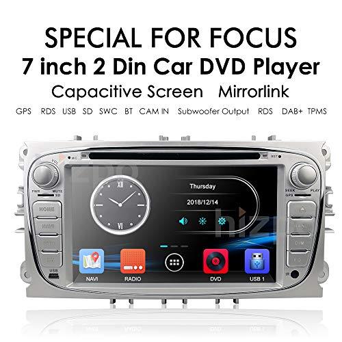 hizpo Doppel-Din-Autoradio-Autoradio in Dash Headunit für Ford Focus Mondeo S-Max C-Max Galaxy Unterstützung GPS-Navigationsbildschirm Spiegel OBD2 Lenkradsteuerung DVD-Player Rückfahrkamera