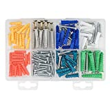Drywall Anchor and Screw Kit,COOLOGIN 144 PCS Ribbed Anchors for Household Wall and Self-Tapping Screws Assortment Kit with Clear Case
