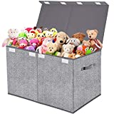 Toy Box Chest Organizer with Flip-Top Lid,Collapsible Kids Storage for Nursery,Playroom,Closet Home Organization,Herringbone Pattern(Grey)