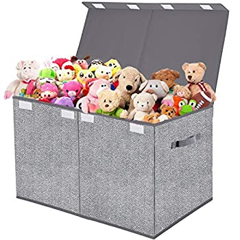 Toy Box Chest Organizer with Flip-Top Lid,Collapsible Kids Storage for Nursery,Playroom,Closet Home Organization,Herringbone Pattern Grey