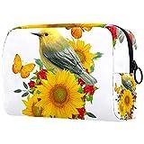 Kosmetiktasche Womens Waterproof Makeup Bag Für Reisen zum Tragen von Kosmetika Wechselschlüssel usw. Vogelblumen grüne Blätter Schmetterlinge