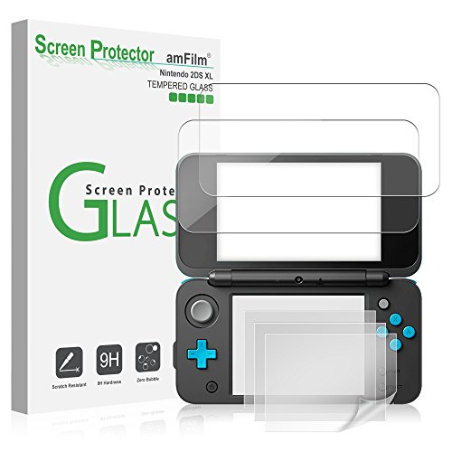 Nintendo 2DS XL Screen Protector Pack, amFilm [2 GLASS Top, 4 PET Bottom] High Quality Screen Protectors for New Nintendo 2DS XL 2017 (6 Protectors in Package)