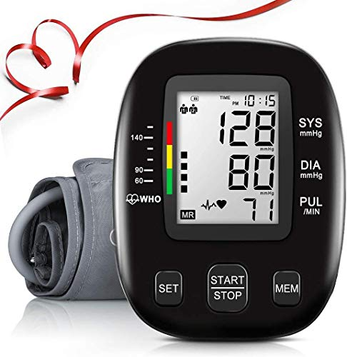 Blood Pressure Monitor,Automatic Upper Arm Bp Machine,Digital Blood Pressure Moniotor,Large LCD Display & Adjustable Cuff,2 Users 198 Memory Hypertension Detector for Home Use