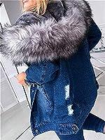 女性ウィンタージャケットウォームぬいぐるみフード付きスリムフィットフリース裏地厚いトレンチコート女性ウィンターコートパーカデニムコート (Color : Blue, Size : M)