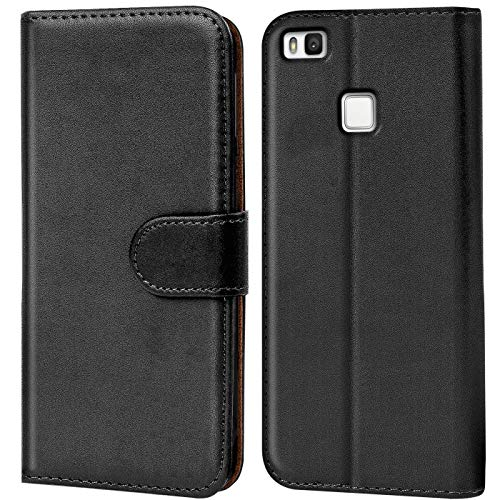 Verco Funda para Huawei P9 Lite, Telefono Movil Case Compatible con Huawei P9 Lite Libro Protectora Carcasa, Negro