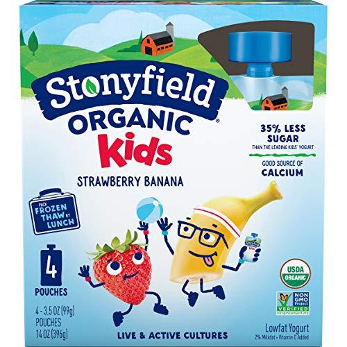 Stonyfield Organic Kids Strawberry Banana Lowfat Yogurt Pouches, 3.5 oz. Each, 4 Ct – Includes...