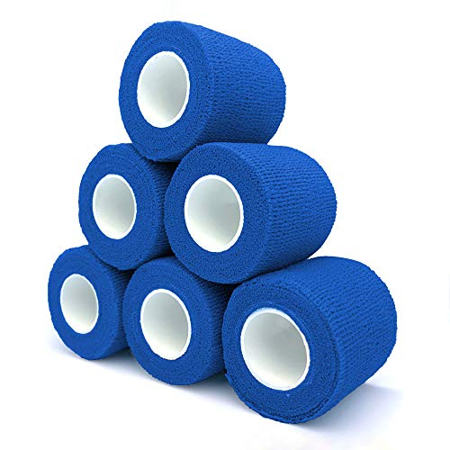 Cohesive Bandage 2' x 5 Yards, 6 Rolls, Self Adherent Wrap Medical Tape, Adhesive Flexible Breathable First Aid Gauze Ideal for Stretch Athletic, Ankle Sprains & Swelling, Sports, Blue
