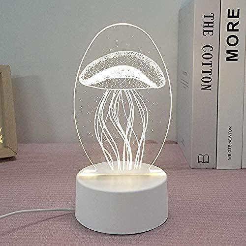 wangzj Night Lights Luces de la habitación Lámpara de regalo Lámpara de mesita de noche - Medusa led Lámpara de mesa de regalo 3D Acrílico Plano Regalo lindo