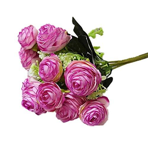 Enticerowts - Fiore di Camelia Artificiale, Non sbiadisce, Colori Vivaci, Decorazione per Tavolo, Ufficio, casa, Giardino, Festa di Nozze, Fai da Te Dark Pink