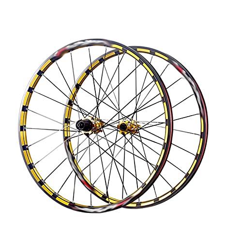 26/27,5 Pulgadas Ruedas De Bicicleta De Montaña,MTB Frenos De Disco De Liberación Rápida, Ajuste 7/8/9/10/11 Velocidad (Color : Black+Gold, Talla : 26inch)
