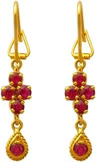 Lagu Bandhu 22k (916) Yellow Gold and Ruby Drop Earrings for Women
