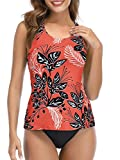 Bathing Suits for Women Swimsuits Tankini Tops Swimwear Plus Size Two Piece Swim Suits Sexy Swimming Suits Modest Red Floral 6-8