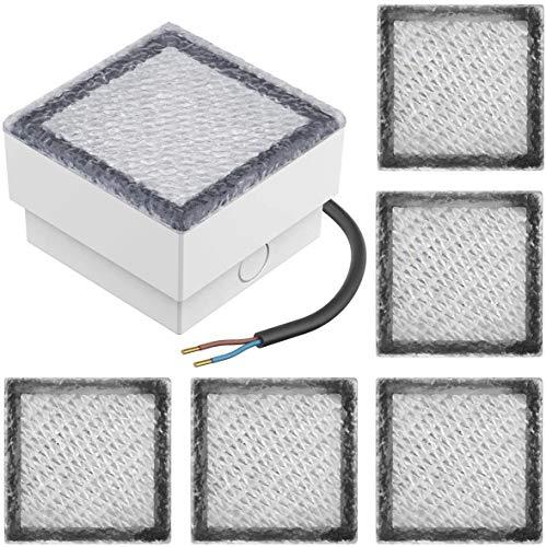WXL Bodeneinbaustrahler Aussen Led Pflasterstein Buried Licht, 10x10cm, 230V Warmes Weiß, 6 Stück