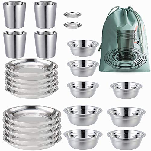 Stainless Steel Plates,Bowls,Cups and Spice Dish. Camping Set (24-Piece Set) 3.5inch to 8.6inch. Camping, Hiking, Beach,Outdoor Use Incl. Travel Bag