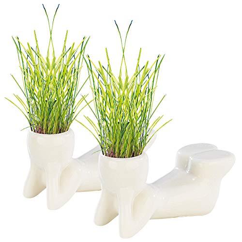 infactory Tisch-Dekoration: 2er-Set Grasmännchen liegend (Männchen-Form mit Gras-Haar)