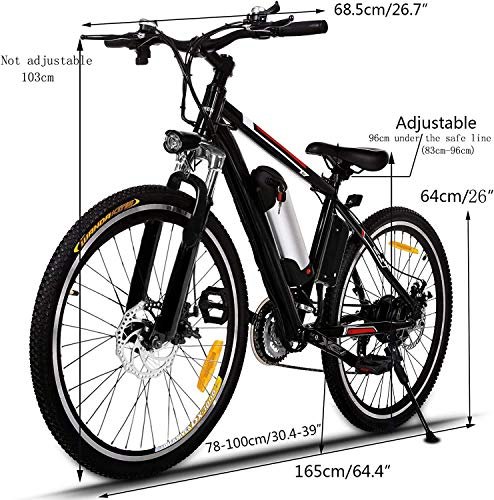 Eloklem 26'' Electric Bike, Electric Bicycle with 36V 8Ah Removable Large Capacity Lithium-Ion Battery, 250W Motor and Professional 21 Speed Gear (Black)
