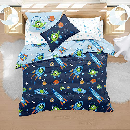 Treehouse Kids NZ Boys Universe Outer Space Duvet Cover Set Twin Astronaut Rocket Ship Planets Stars Boys Galaxy Bedding 3 Piece Twin Reversible 100% Microfiber 68x86 inches