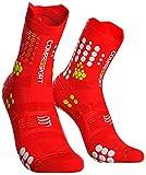COMPRESSPORT Calcetines de compresión Hombre de Senderismo, Color Rojo/Blanco, T1