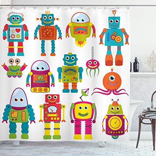 Lunarable Outer Space Shower Curtain, Robot Drawing with Cartoon Future Toys with Smiling Faces Aliens Fun Games, Cloth Fabric Bathroom Decor Set with Hooks, 84' Long Extra, Teal Red