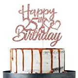 Rose Gold Glitter Happy 25th Birthday Cake Topper, 25th Birthday Decoration Supplies, Twenty-five Years Old Cake Topper