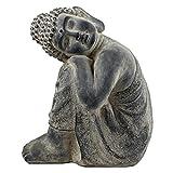 SVITA Buddha XL Buddha in verschiedenen Varianten Figur Asien Statue Skulptur Feng Shui Stein-Optik grau (48 cm, Schlafend)