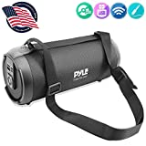 Wireless Portable Bluetooth Boombox Speaker - 300 Watt Rechargeable Boom Box Speaker Portable Music Barrel Loud Stereo System with AUX Input, MP3/USB/SD Port, Fm Radio, 3' Tweeter - Pyle PBMSPG2BK