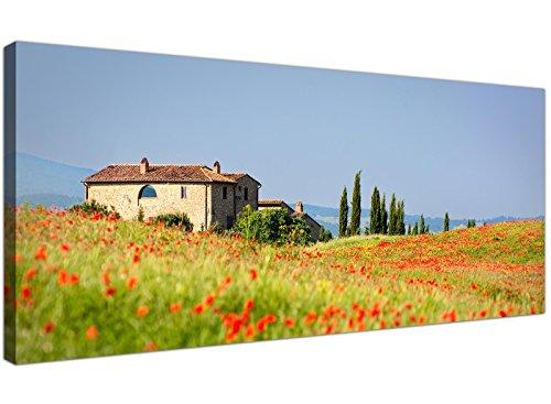 Rot Poppy Landschaft Kunstdruck auf Leinwand Toskana Italien–1233–Wallfillers®