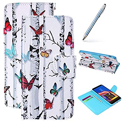 Robinsoni Case Compatible with Galaxy J4 Plus 2018 PU Leather Phone Case Folio Flip Cover with Kickstand Book Style Cover Magnetic Closure Notebook Cover Wallet Phone Case Colorful Butterflies