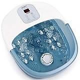 Masajeador para baños de pies con burbujas de calor y vibración, 14 rodillos de masaje Shiatsu, Tina de pedicura de temperatura ajustable para uso en el hogar