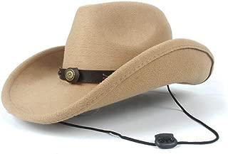 SAIPULIN-AU Men Women Western 100% Wool Cowboy Hat with Belt Sombrero Hat Adult Church Hat Size 56-58CM (Color : Khaki, Size : 56-58)