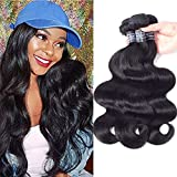 Amella Hair 100% Unprocessed Virgin Brazilian Human Hair Brazilian Body Wave 3 Bundles (18 20 22,300g) Hair Extensions Grade 8A Remy Human Hair Bundles Natural Black Color