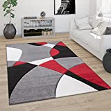 Alfombra Salón Pelo Corto Moderna Efecto 3D Perfil Contorneado Motivo Abstracto, tamaño:120x170 cm, Color:Rojo