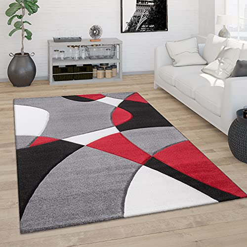 Tappeto Salotto Pelo Corto Moderno Look 3D Contorni Rifilati Motivo Astratto, Dimensione:80x150 cm, Colore:Rosso