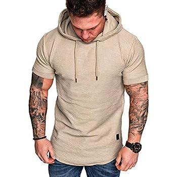 NIUQI Fashion Men s Slim Fit Casual Popular Large Size Short Sleeve Hoodie Top Blouse Khaki