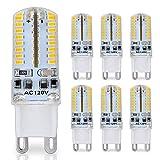 G9 LED Bulb, 25 Watt Glass Halogen Light Bulbs Replacement, 120V AC, 3W / 250 Lumens, Warm White 3000K, T4 JCD Chandelier Incandescent Lamp, Pack of 6