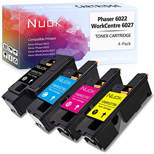 Price comparison product image NUOK Compatible Toner Cartridge Replacement for Xerox WorkCentre 6025 6027 Phaser 6022 6020 for Xerox 106R02759 106R02756 106R02757 106R02758 Toner (1 Black,  1 Cyan,  1 Magenta,  1 Yellow,  4-Pack)
